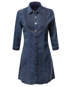 Women's Denim Chambray Button Down Shirt Dress With 3/4 Sleeves
