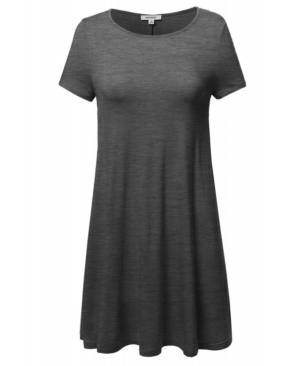 Women's Solid Short Sleeve Stretchy Loose Fit Casual Tunic Dress ...