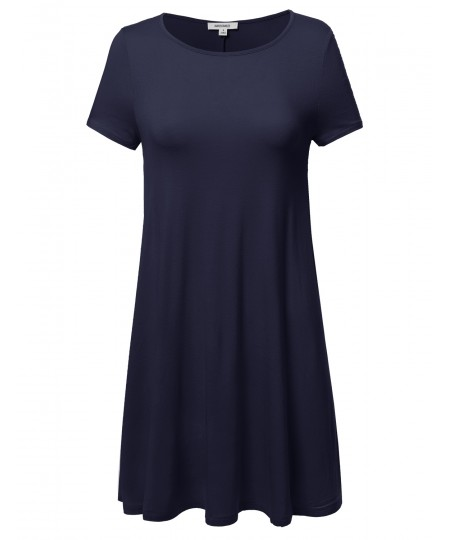 Women's Short Sleeve Stretchy Loose Fit Casual Tunic Dress