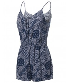 Women's Patterned Front Lace Up Sleeveless Romper