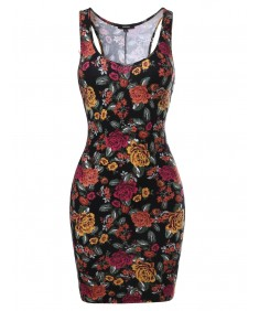 Women's Floral Print Stretchy Mini Dress
