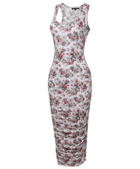 Women's Floral Round Neck Side-Shirred Stretchable Sleeveless Dress