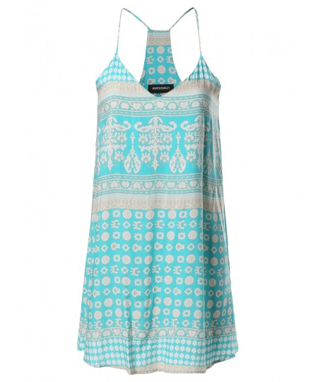 Women's Spring Summer Strappy  Printed Slip Mini Dress MADE in USA