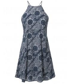 Women's Spring Summer Halter Strap Cut Out Printed Slip Mini Dress