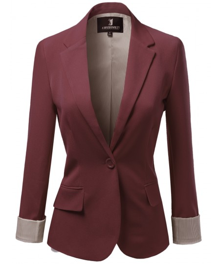 Women's Solid Long Sleeves One Button Closure Side Pocket Inner Stripe Blazer
