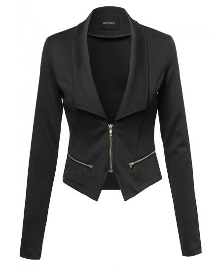 Women's Cropped Fashion Blazer Jacket With Zipper Details