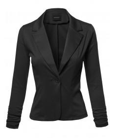 Women's Stretchy Peak Lapel 3/4 Shirring Sleeve One Button Knit Blazer