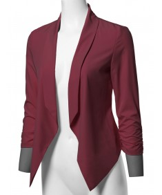 Women's Solid Lightweight Open Front Shirring Sleeve Blazer