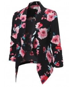 Women's Floral Lightweight Open Front Shirring Sleeve Blazer