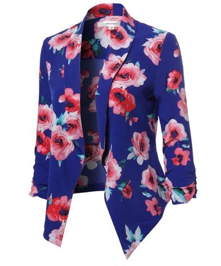 Women's Floral Lightweight Open Front Shirring Sleeve Blazer