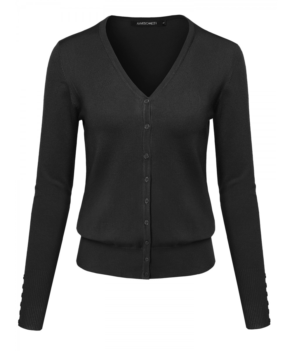 Women's Basic Solid V Neck Cuff Button Sweater Cardigan Layer Top ...