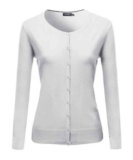 Women's Basic Solid Round Neck Sweater Cardigan With Various Colors