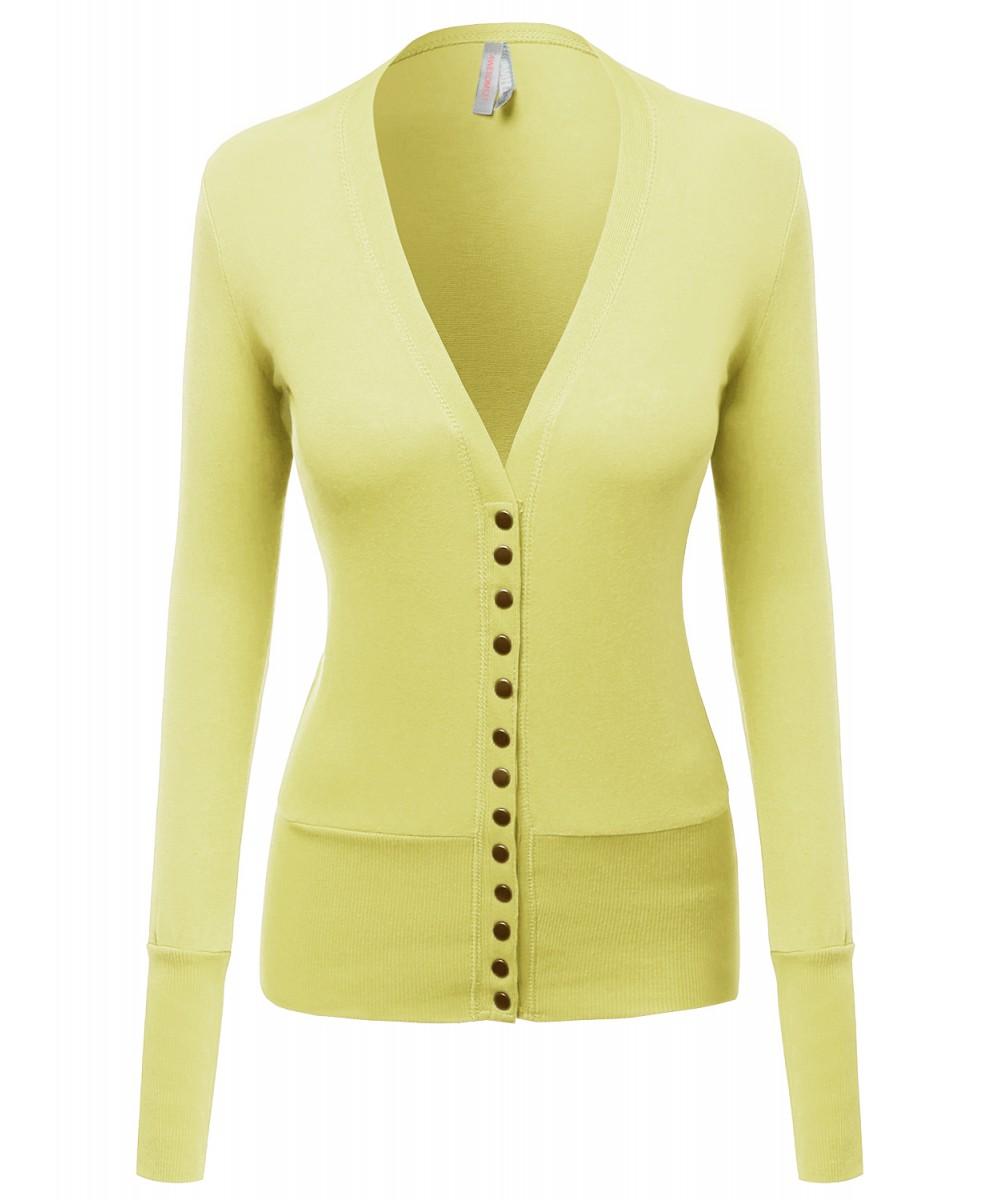 Super Cute Snap Button down Deep V neck Cardigan - FashionOutfit.com