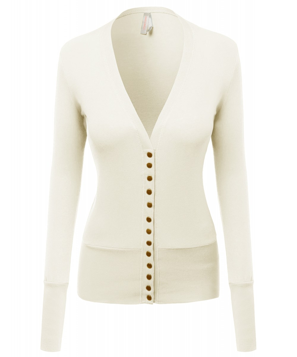 Super Cute Snap Button down Deep V neck Cardigan - FashionOutfit.com