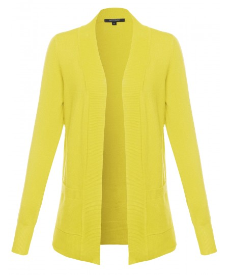 Women's Solid Open Cardigan with Front Pockets