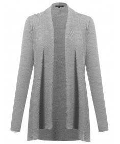 Women's Basic Draped Open Cardigan With Ribbed Details