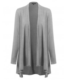 Women's Basic Draped Open Cardigan With Ribbed Patterns