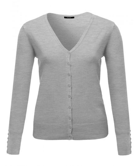 Women's Basic V-neck Solid Cardigan Plus Size Color Variations