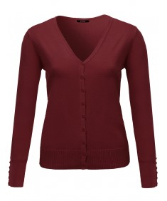 Women's Basic V-neck Solid Cardigan Plus Size Color Variations