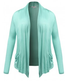 Women's Long Sleeve Flyaway Cardigan Plus Size Various Colors