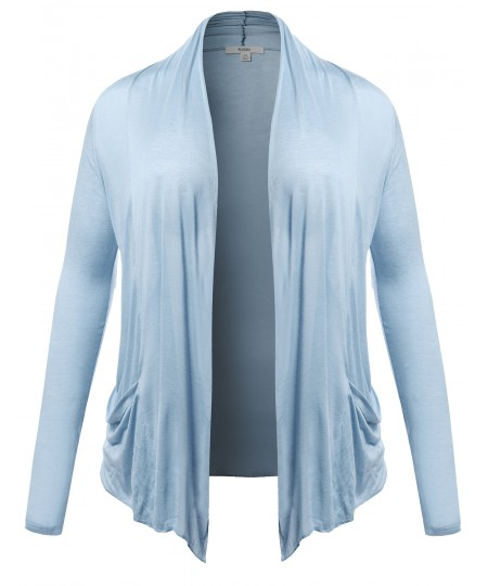 Women's Long Sleeve Flyaway Cardigan Plus Size Various Colors