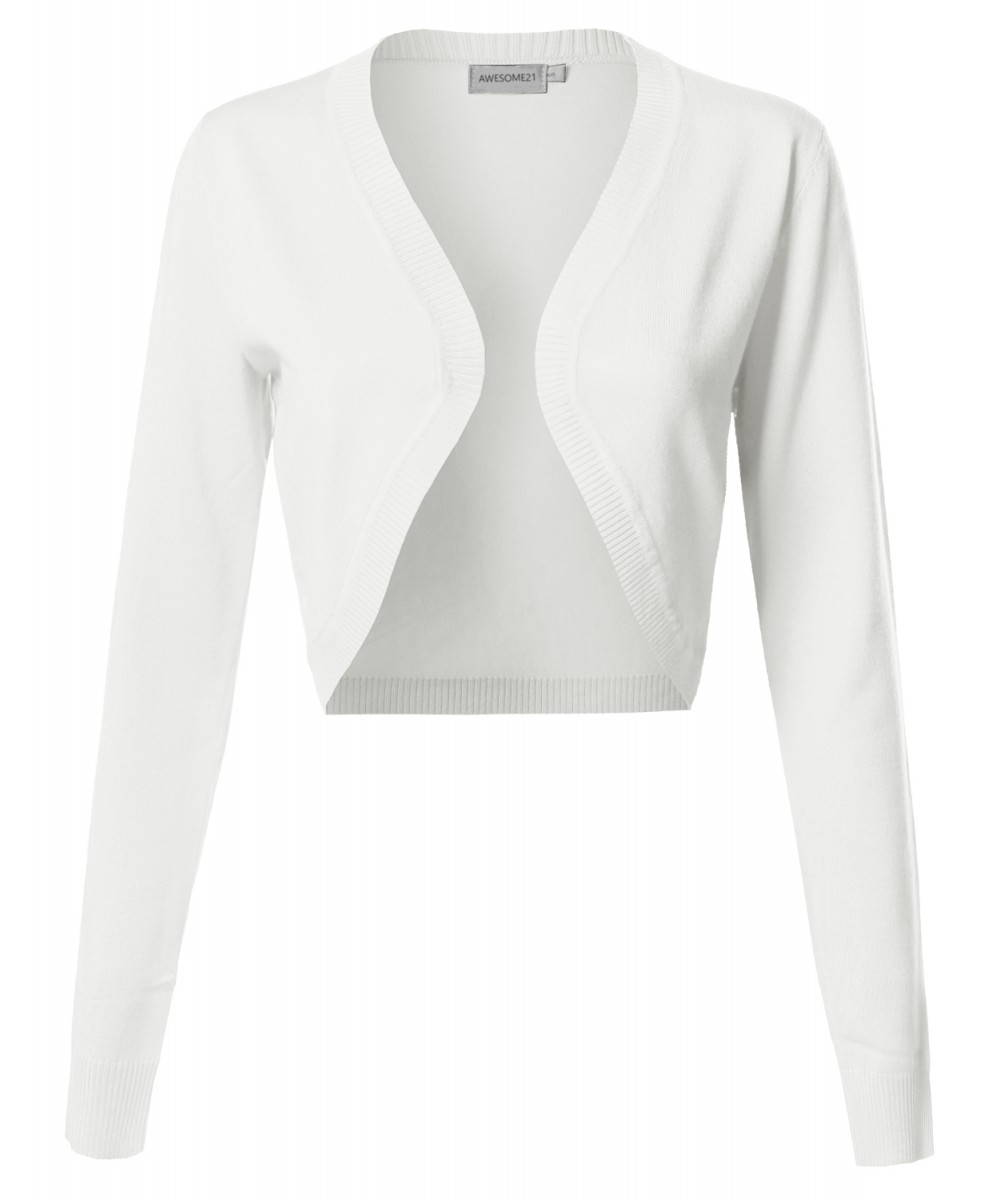 Women's VISCOSE Solid Office Soft Stretch Long Sleeve Bolero ...