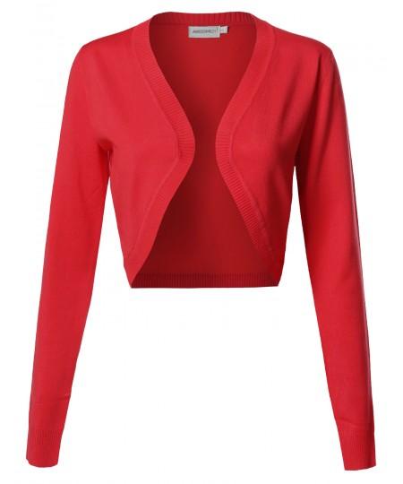 Women's VISCOSE Solid Office Soft Stretch Long Sleeve Bolero Cardigan