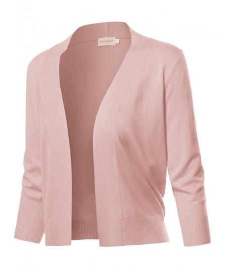 Women's Solid Soft Stretch 3/4 Sleeve Layer Bolero Cardigan
