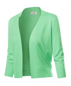 Women's Solid Soft Stretch 3/4 Sleeve Layer Bolero Cardigan