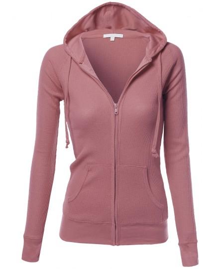 Women's Basic Lightweight Zip Hooded Jackets
