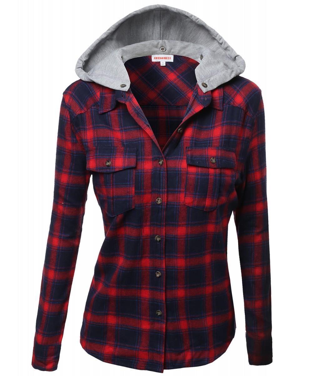 Super soft plaid checker detachable hood flannel for Super soft flannel shirts