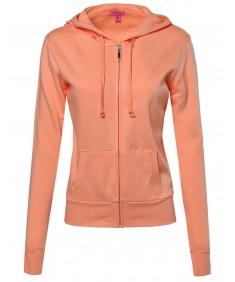Women's Basic Lightweight Zipper Drawstring Hoodie Jacket