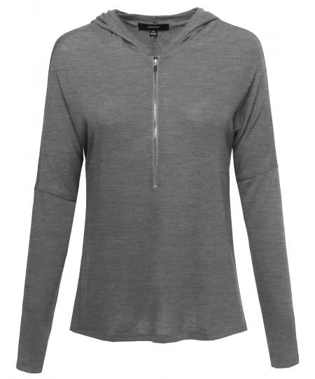 Women's Basic Lightweight Zip Up Dolman Long Sleeve Hoodie Top