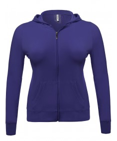 Women's Zip-Up Closure Hoodie W/ Long Sleeve And Lined Drawstring Hood