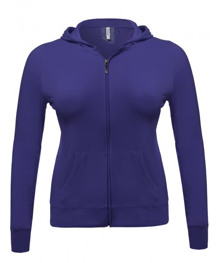 Women's Zip-Up Closure Hoodie W/ Long Sleeve And Lined Drawstring Hood
