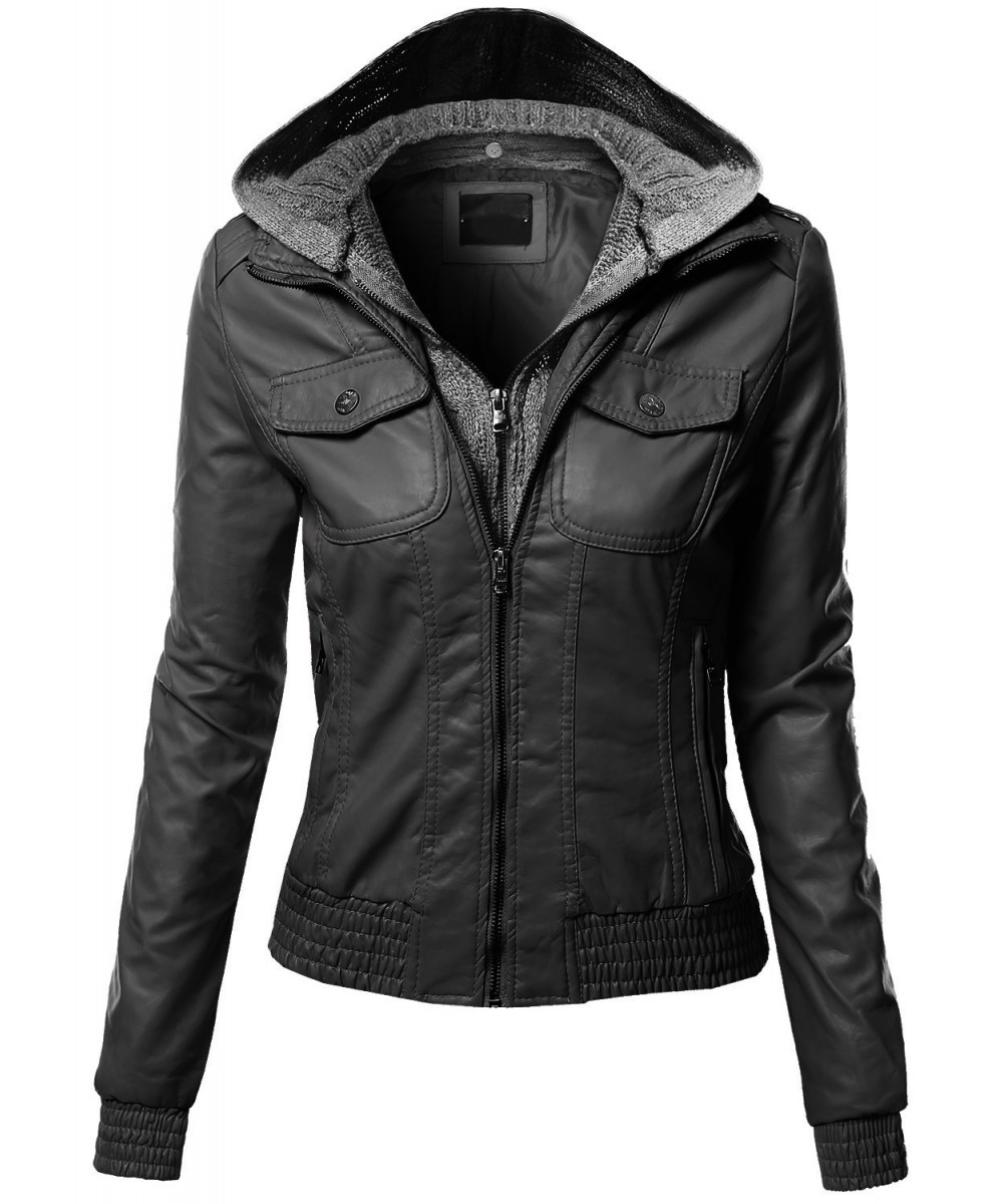 Made By Johnny MBJ Womens Faux Leather Motorcycle Jacket with Hoodie. by Made By Johnny. $ - $ $ 14 $ 59 95 Prime. FREE Shipping on eligible orders. Some sizes/colors are Prime eligible. 4 out of 5 stars 1,