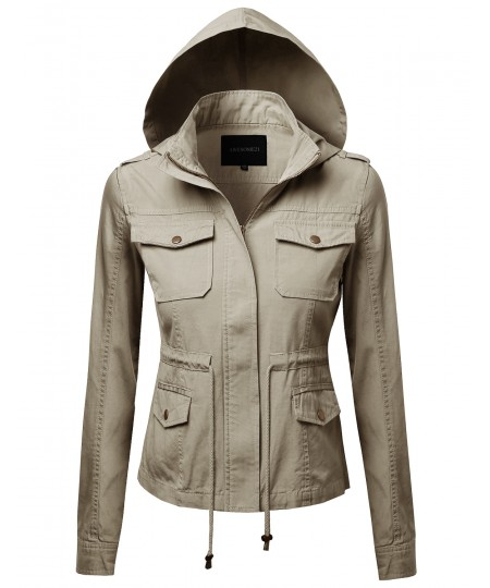 Women's Hooded Military Utility Jacket