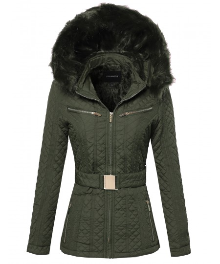 Women's Quilted Fur Lined Lux Gold Zippered Parka