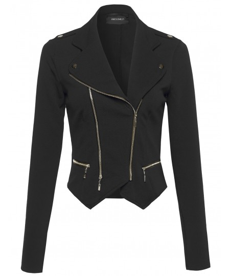 Women's Long Sleeve Double Zip Moto Jacket