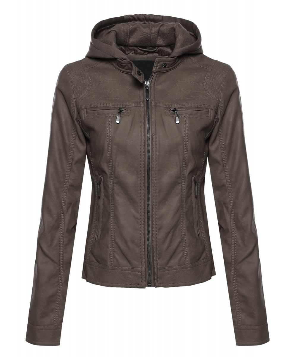 Awesome21 Women's Zip Up Leather Jacket with Attached Hood ...