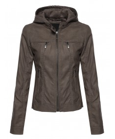 Women's Zip Up Leather Jacket with Attached Hood