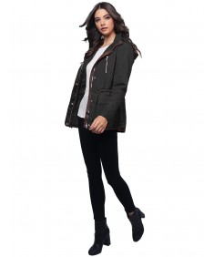 Women's Quilted Military Puffer Jacket With Drawstring Waist