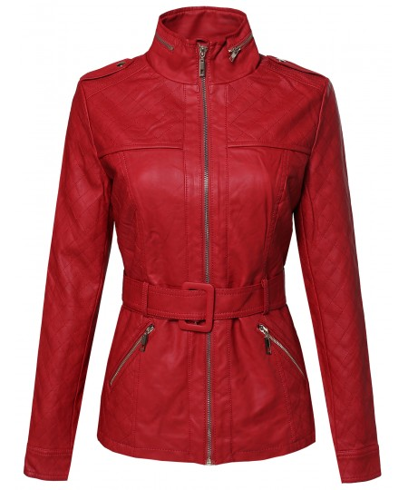 Women's Faux Leather Zippered Jacket With Quilting And Detachable Belt