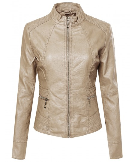 Women's Basic Moto Rider Faux Leather Zippered Jacket