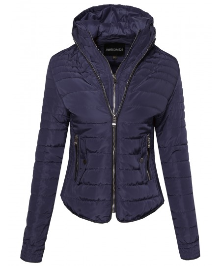 Women's Ribbed Puffer Jacket with Double Zipper and Fleece Lining
