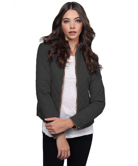 Women's Quilted Padded Puffer Jacket With Zipper Detailing And Side Ribbing