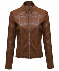 Women's Fashion Faux Leather Moto Rider Zippered Jacket