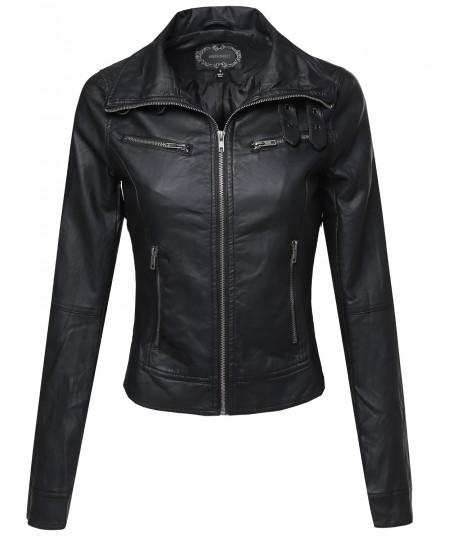 Women's Slim Fit Buckle Biker Faux Leather Jackets