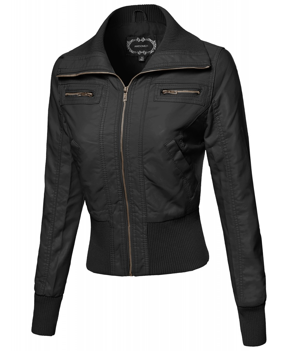 women's leather jacket high collar