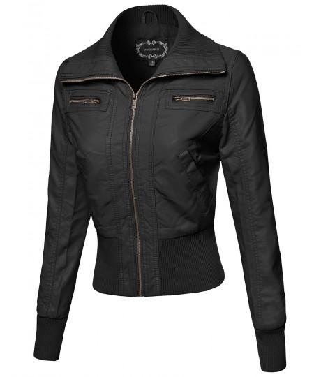 Women's Slim Fit High-Neck Collar Biker Faux Leather Jackets